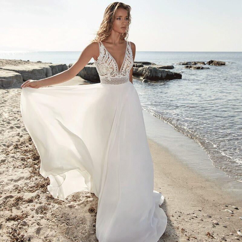 Herve Paris - Tartane Brautkleid Vorderansicht 2