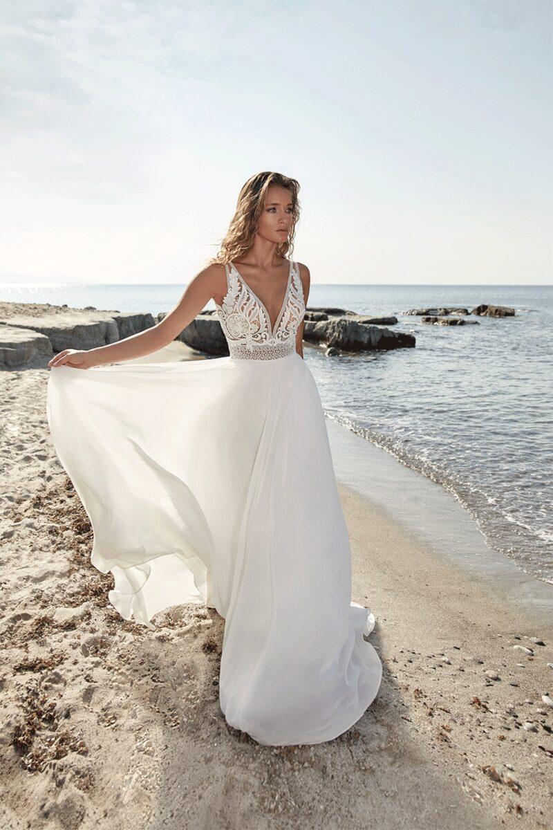 Herve Paris - Tartane Brautkleid Vorderansicht 1