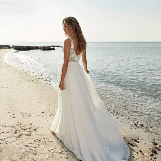 Herve Paris - Tartane Brautkleid Rückansicht 1