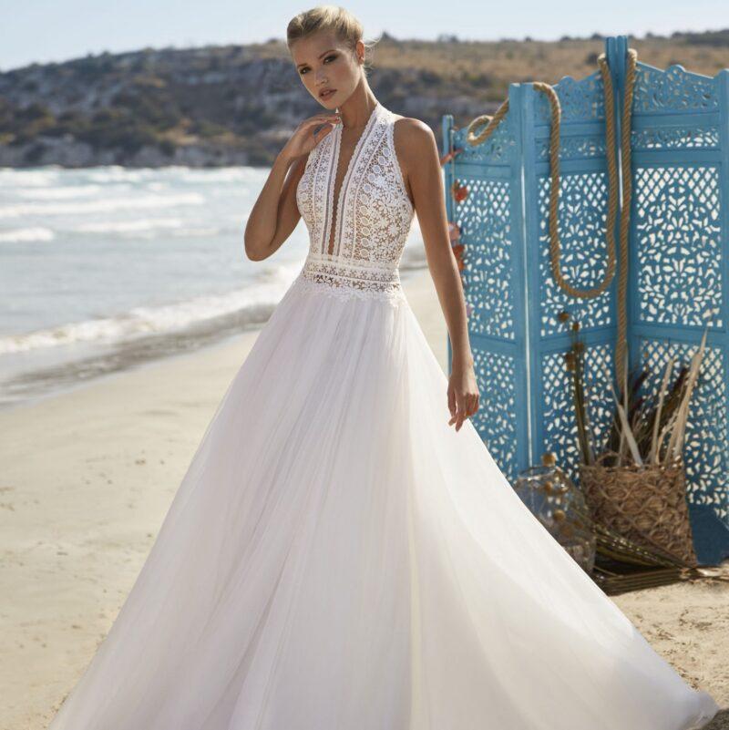 Herve Paris - Vichy Brautkleid Vorderansicht 1