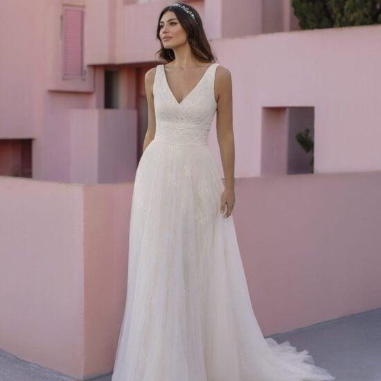 White One - Ocret Brautkleid Vorderansicht 2